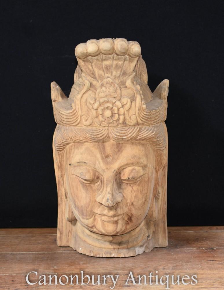 Statue de buste de Bouddha népalais sculpté - Art bouddhiste