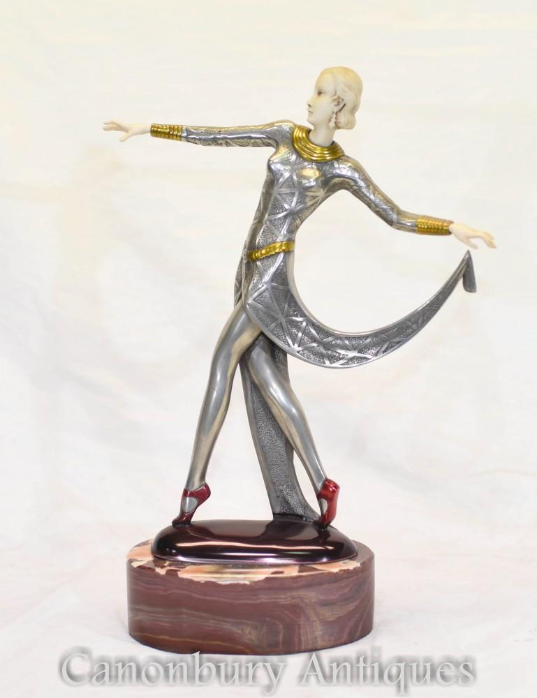 Statue de danseuse exotique Lorenzl Art Déco - Figurine en étain