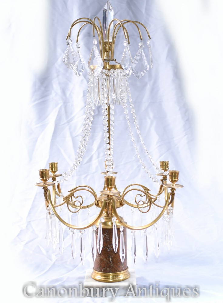 Table à JeuxLustre Empire Français - Lustre Candélabres En Bronze Doré