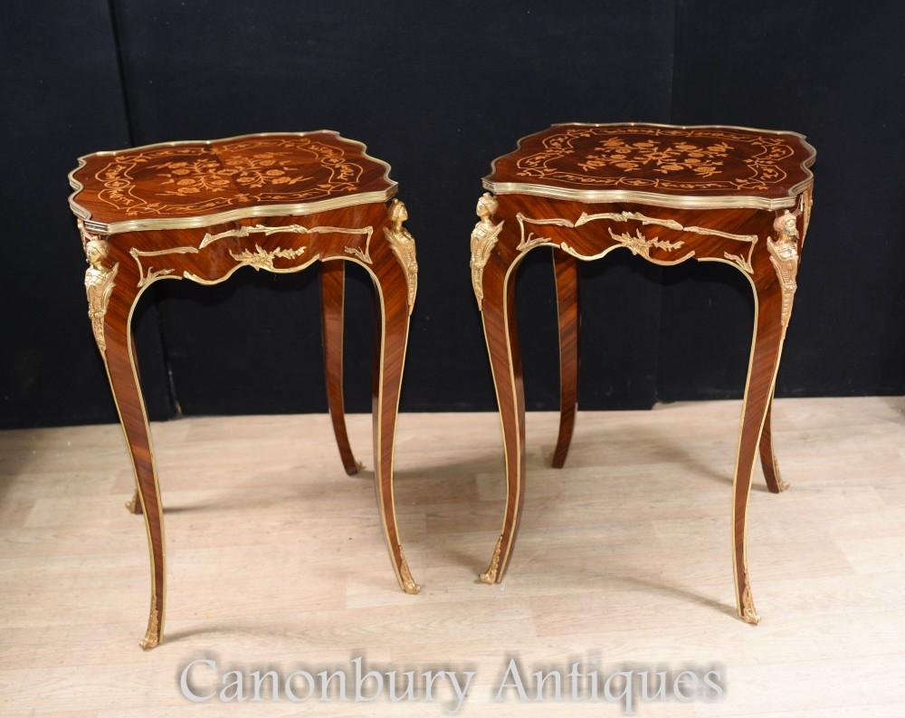 Tables d'appoint Louis XVI - Paire de tables basses françaises