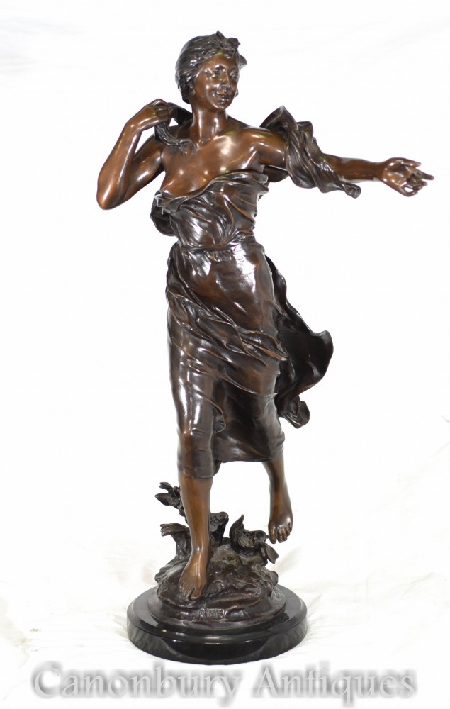 Bronze Art Nouveau Figurine - Brise Signed French Statue