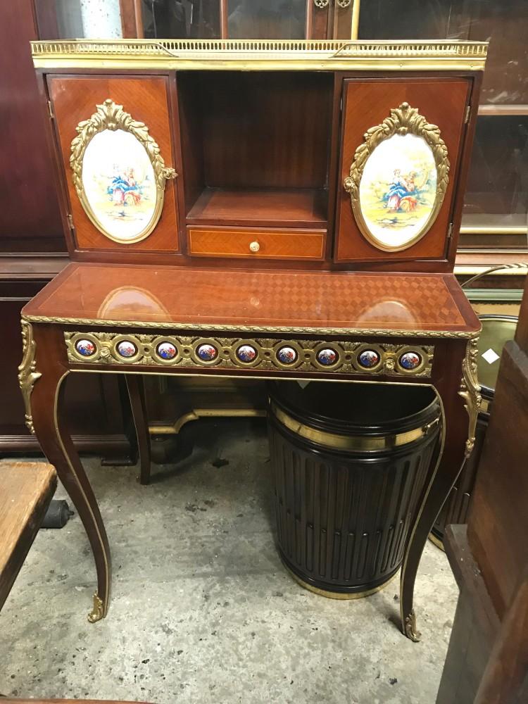 Coiffeuse Antique Française - Bureau Empire en marqueterie de Sevres Plaques