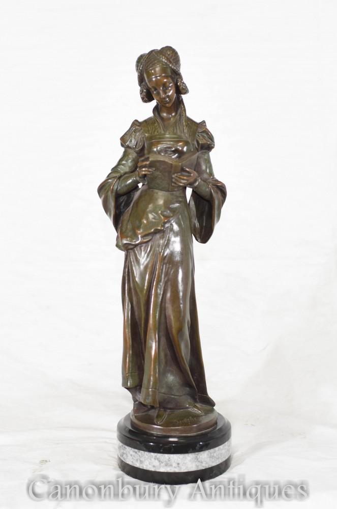 Figurine Art Nouveau En Bronze - Statue Française Lecture Fille