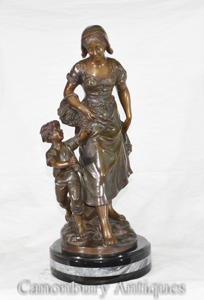 Figurine Maman Enfant En Bronze Française Signée S.Kingsburger