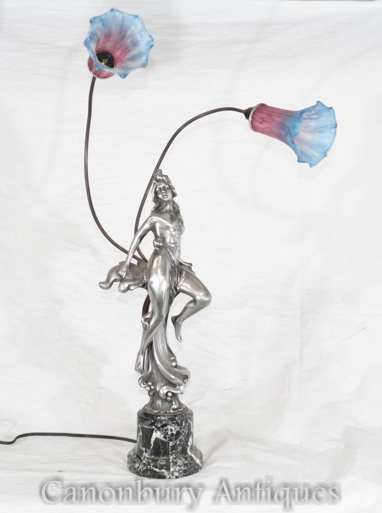 Lampe Figurine Art Nouveau - Lampe à poser en étain