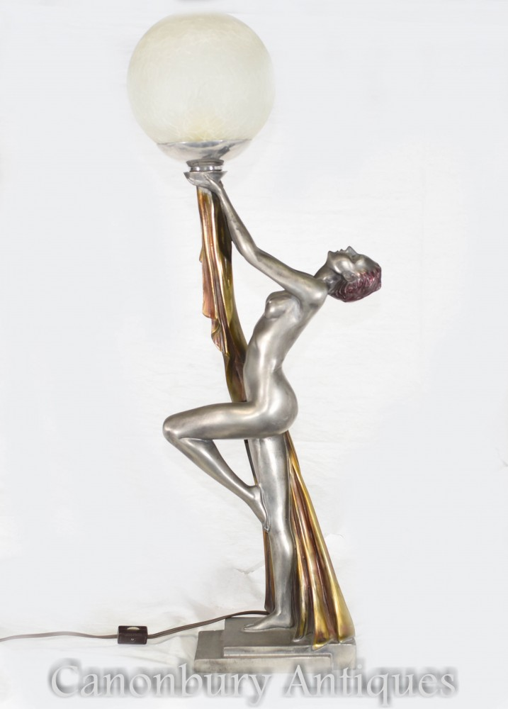 Lampe de table Art Déco - Lampe en statif Biba en étain