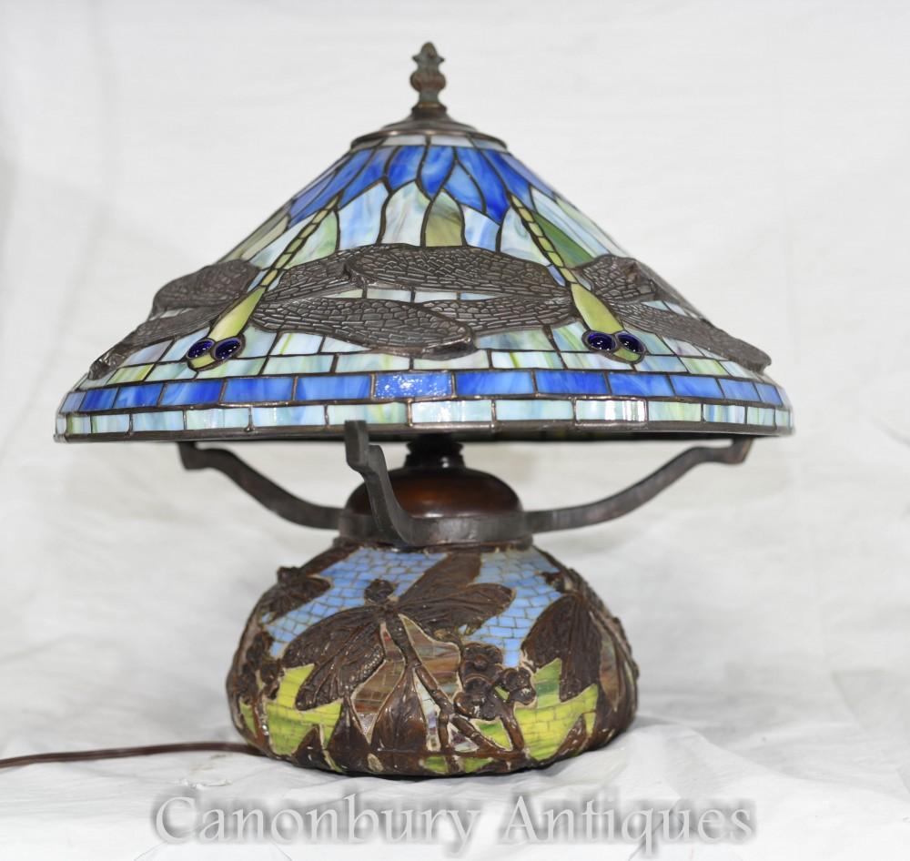 Lampe de table Art Nouveau Tiffany - Abat-Jour Libellule