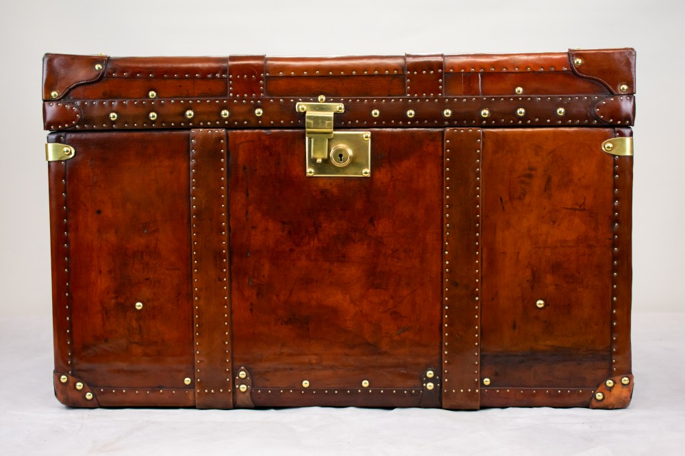 Étui De Coffre En Cuir Steamer Trunk Case-Vintage Travel Box Table