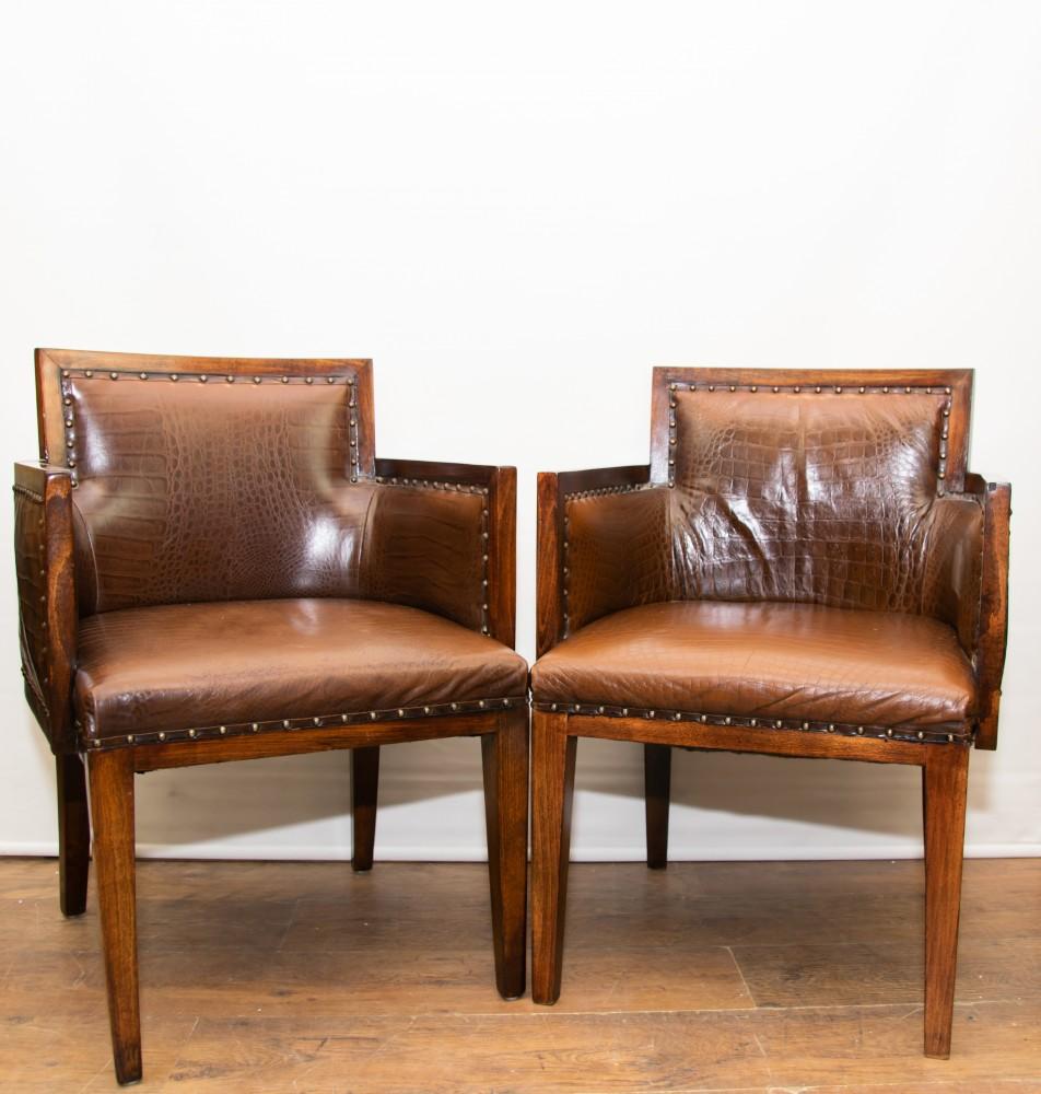 Chaises À Bras Art Déco-Chaise En Cuir