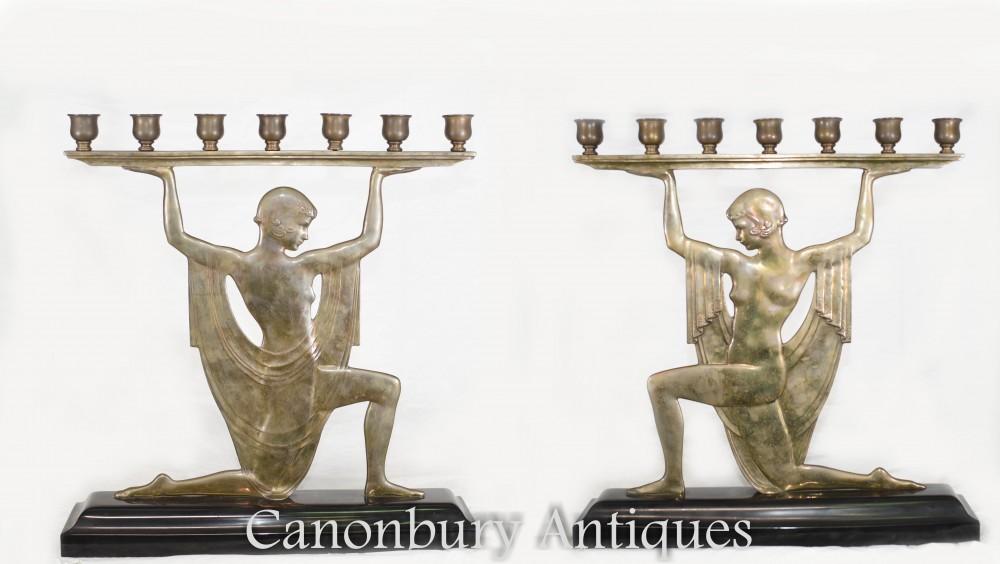 Paire De Candélabres Art Déco - Bronze Antique d'époque 1920