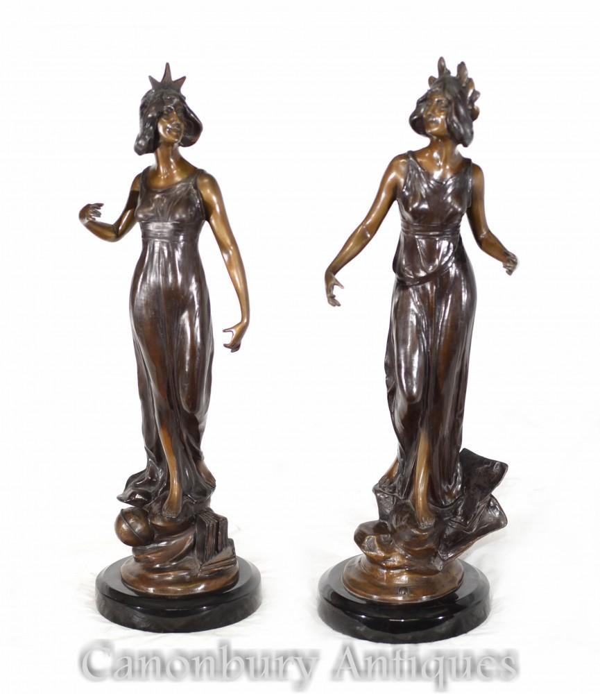 Paire De Figurines Art Nouveau - Statues De Femme En Bronze Française