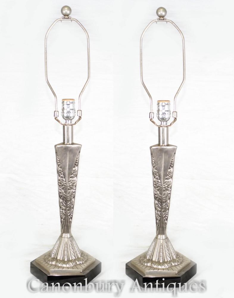 Paire De Lampes De Table Art Déco En Bronze