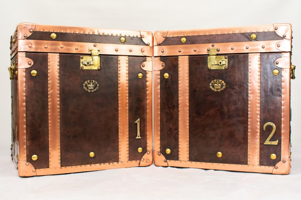 Paire de valises - Coffre à vapeur Coffre à étuis en cuir cuivré