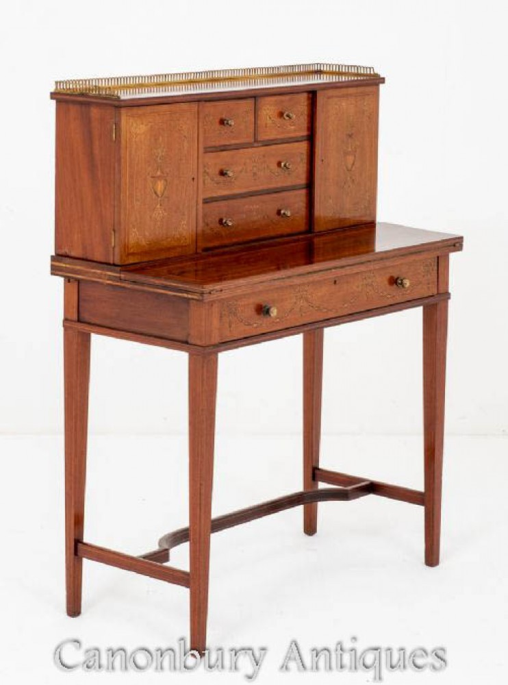 Sheraton Revival Bonheur Du Jour - Antique Desk