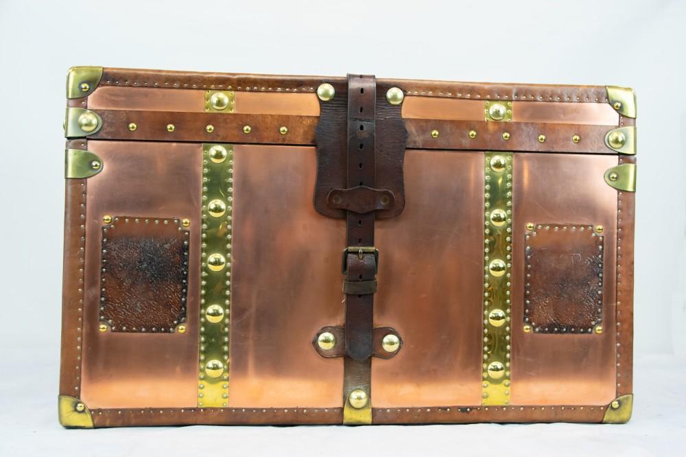 Table de coffre à vapeur - Table de rangement en cuir cuivré