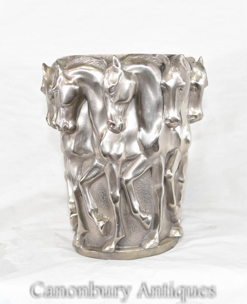Urne Art Nouveau Cheval - Vase Français Signé Aug Moreau