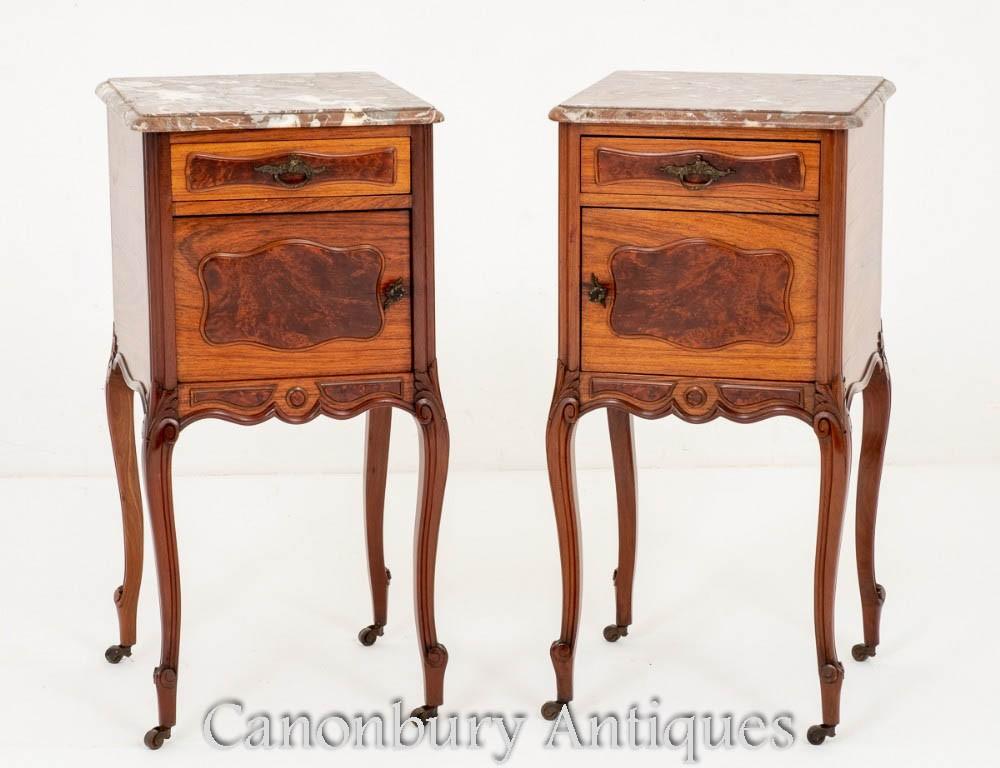 Armoires de Chevet Antiques-Tables de Nuit Françaises Vers 1870