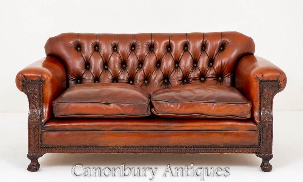 Canapé Canapé Antique en Cuir et Pieds de Griffes Vers 1890