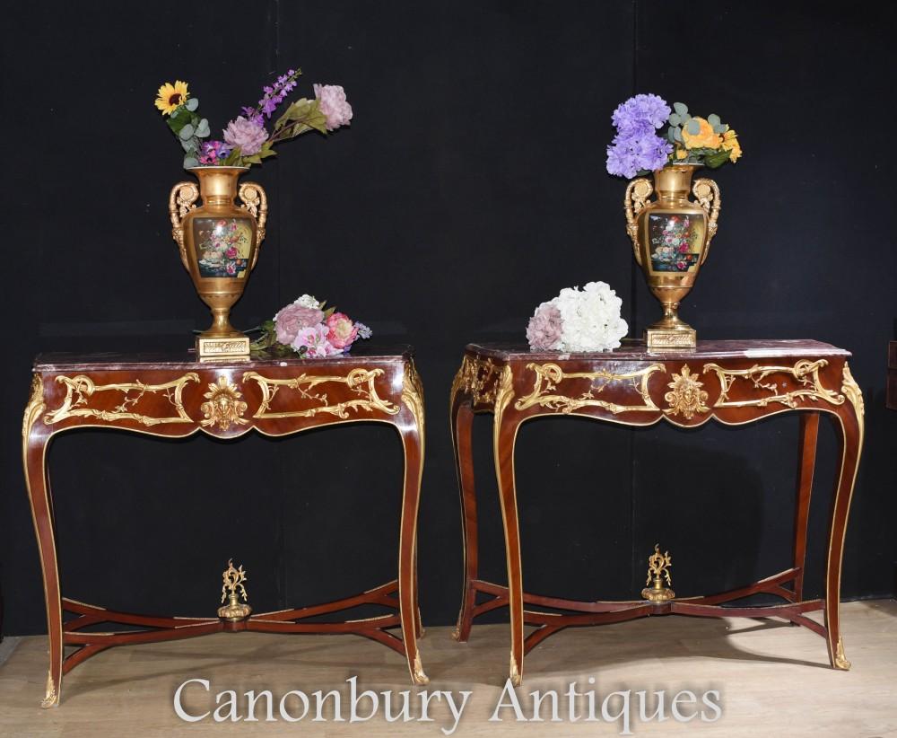 Paire Console Français - Table De Salle à Manger Louis XVI En Bronze Doré