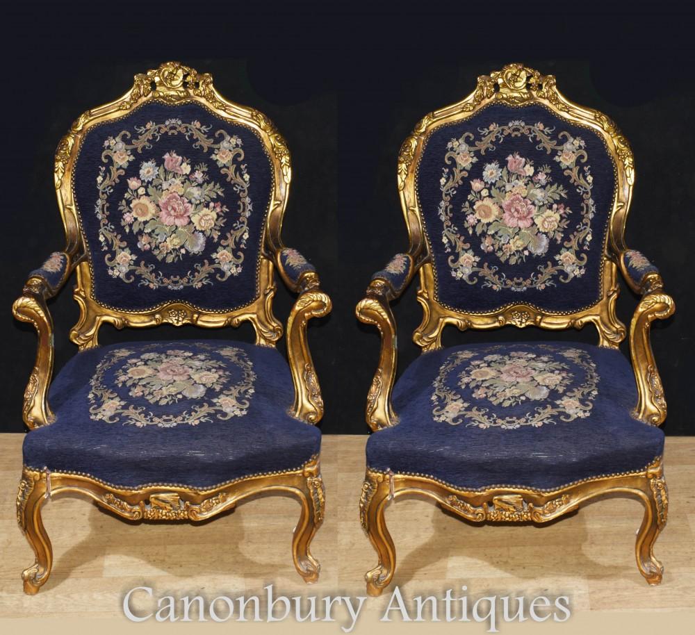 Paire De Fauteuils Dorés, France - Revêtements En Textile Empire Fauteuils