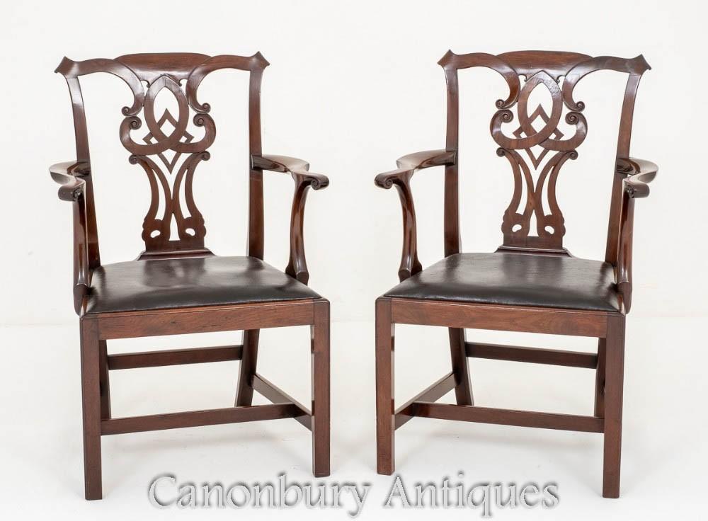 Paire de fauteuils Chippendale - Salle à manger en acajou 1880