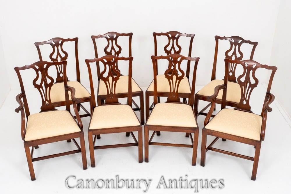 Set de Chaises de Salle à Manger Chippendale en Acajou Antique