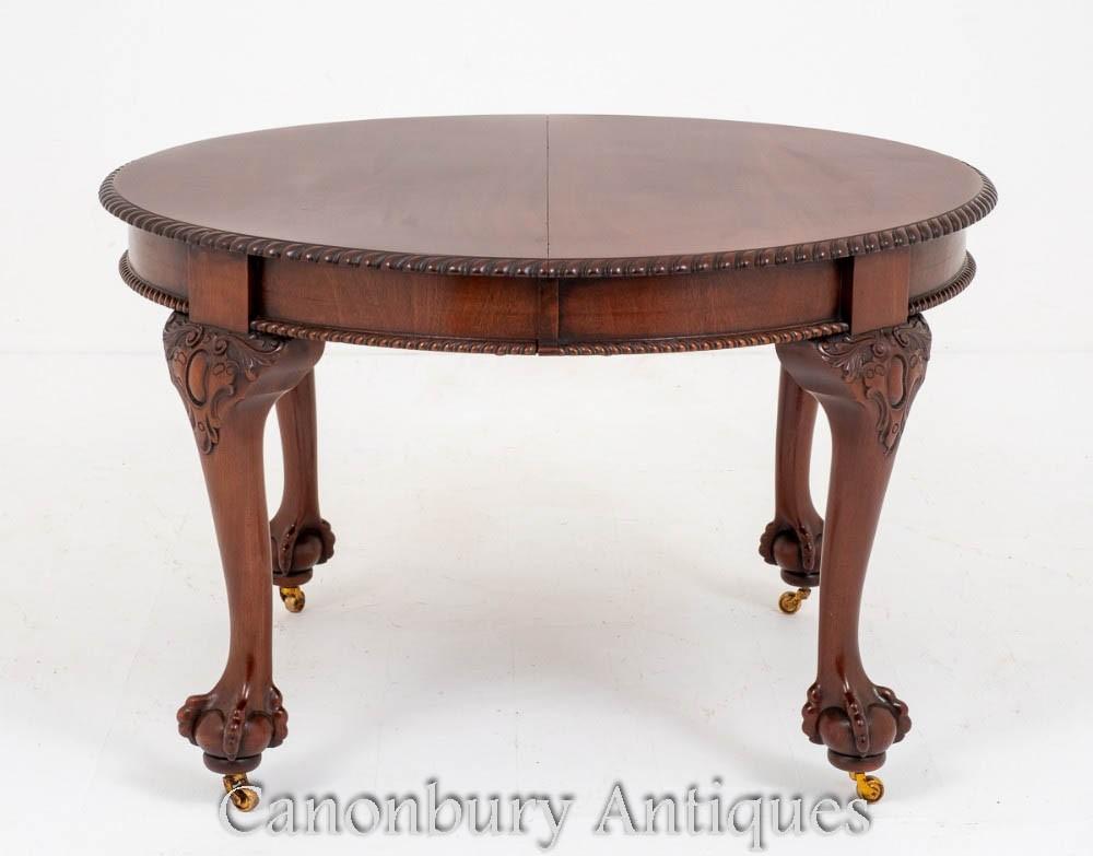 Table à manger Chippendale en acajou à rallonge antique