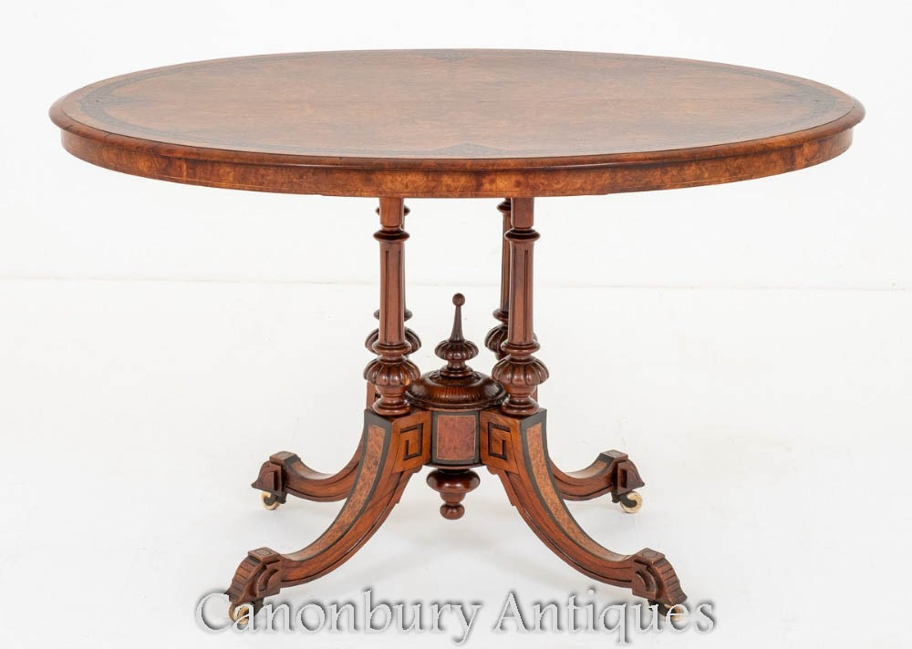 Table de centre victorienne Burr Walnut 1860