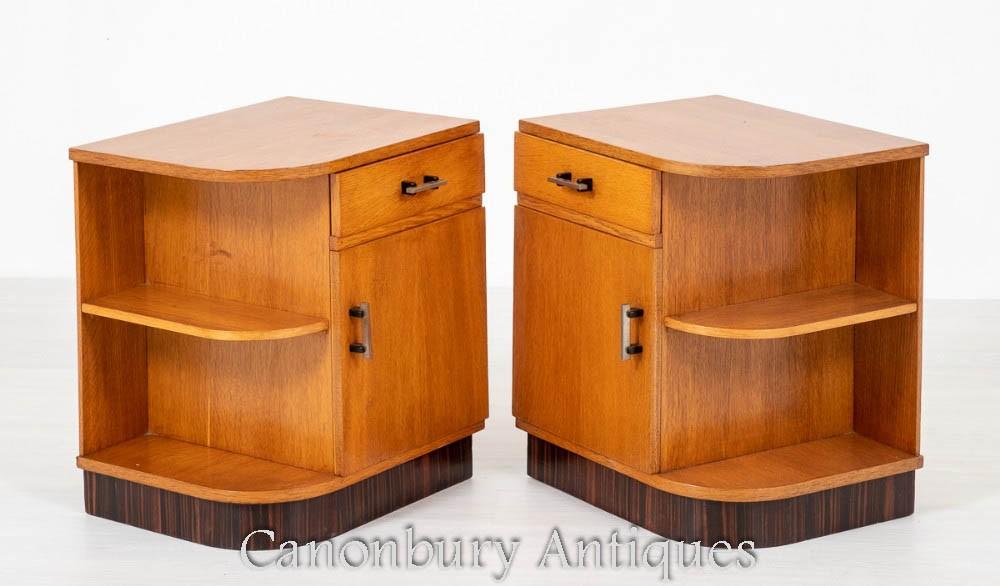 Tables de Chevet Art Déco - Paire d'Armoires de Chevet en Chêne 1930