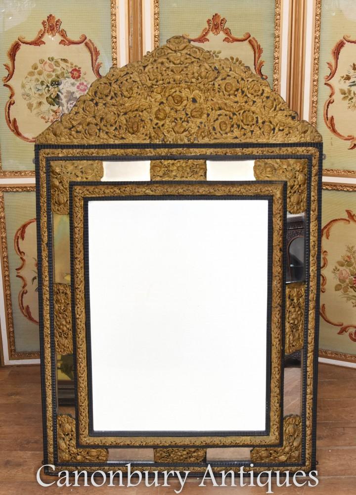 Montures Métal Miroir Coussin Antique en Métal Circa 1880