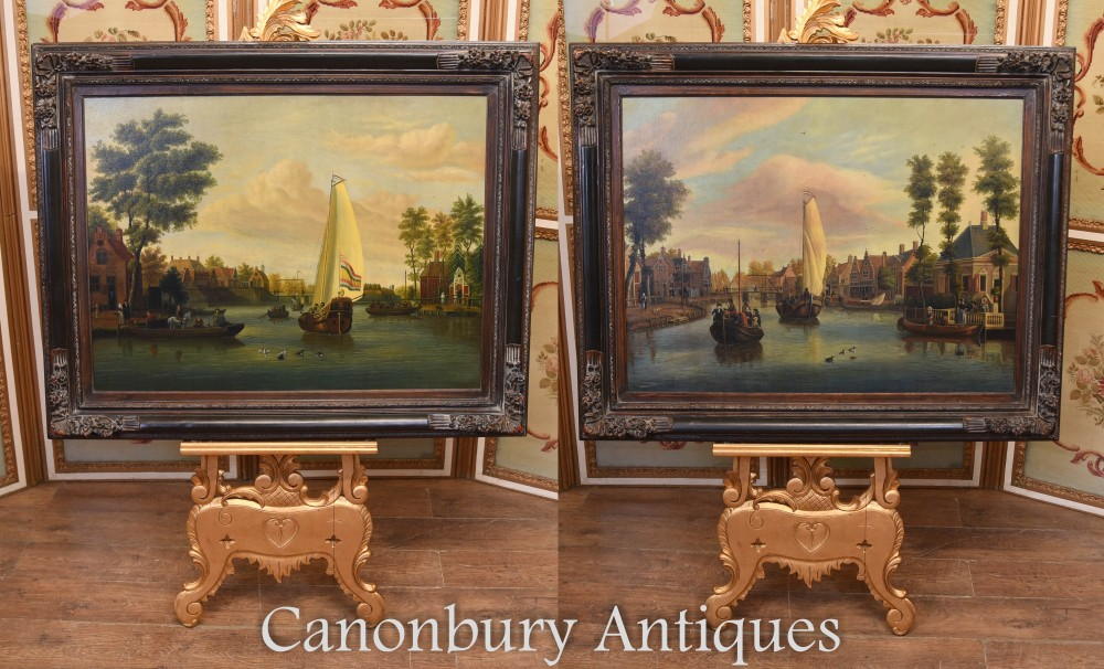 Paire de peintures à l'huile hollandaises anciennes scènes de bateau Riverscape 1860