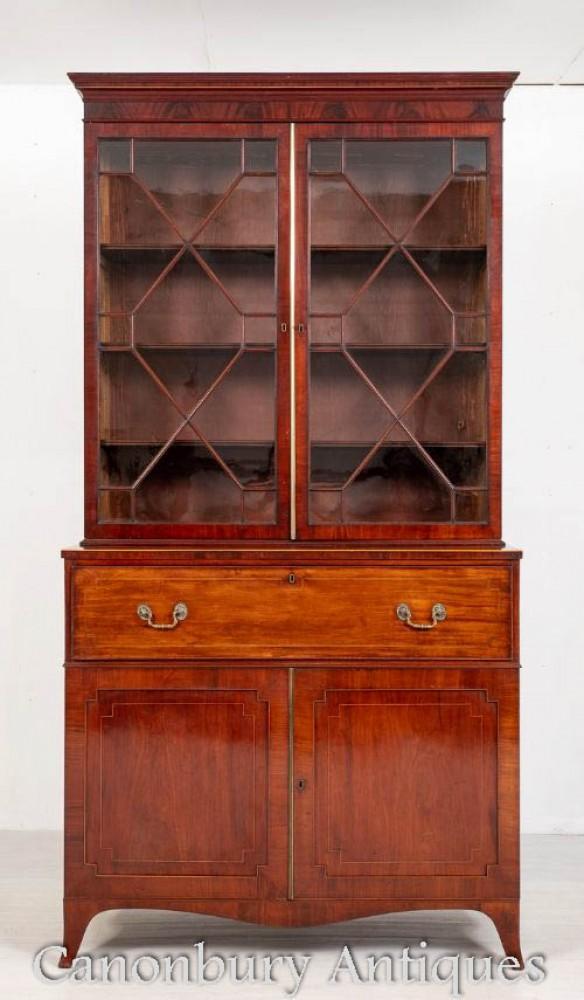Bibliothèque Regency Secretaire Desk Antique Mahogany