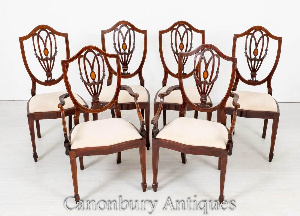 Ensemble de chaises de salle à manger Sheraton en acajou vers 1890