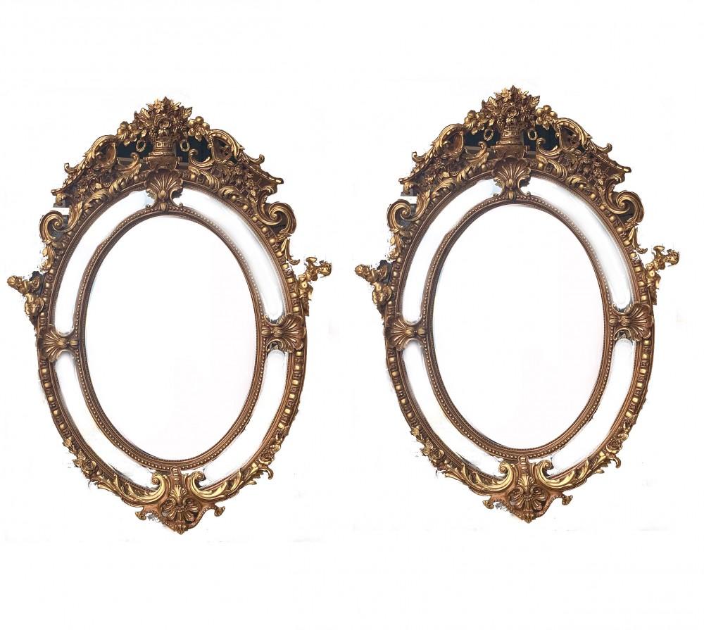 Paire De Grands Miroirs Dorés - Ovale Rococo Louis XVI