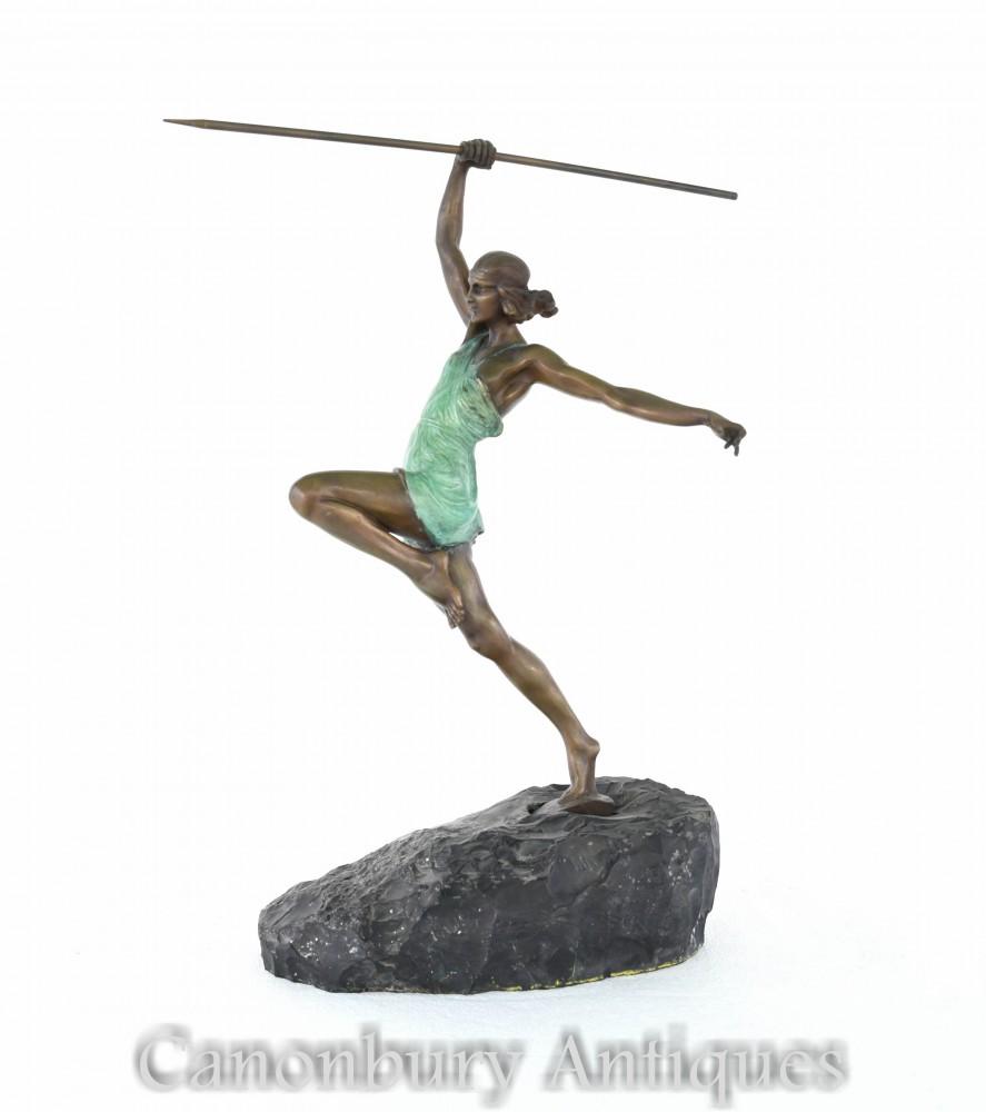 Statue Diana l'Archer en Bronze Art Déco par La Faguays