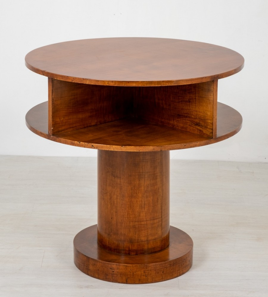 Table d'Appoint Art Déco - Sycamore Occasionnel Cylindrique Circa 1930
