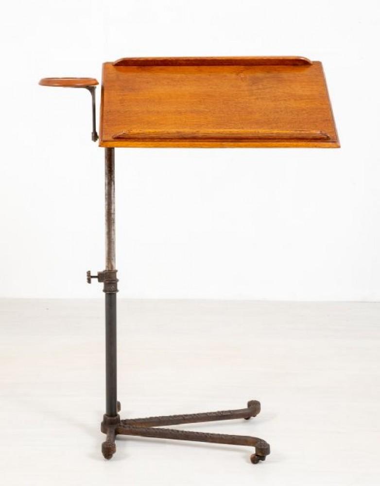 Table de bureau réglable en chêne avec support de lecture victorien